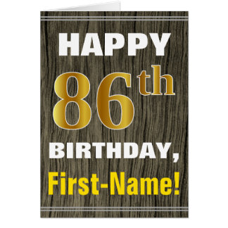 Bold, Faux Wood, Faux Gold 86th Birthday + Name Card