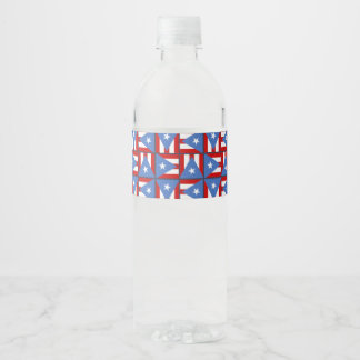 Bold Flag Square Pattern, Puerto Rico Party Theme Water Bottle Label