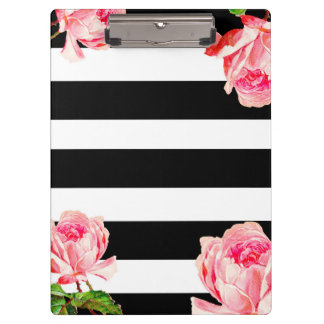 Bold floral and stripes clipboard