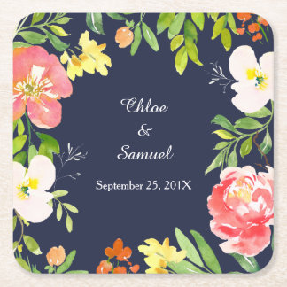 Bold Floral Border on Navy Blue Wedding Square Paper Coaster
