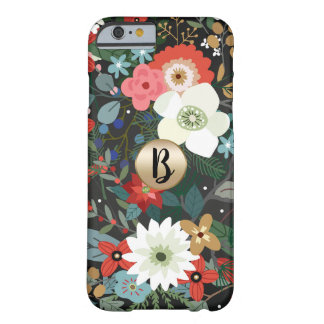 Bold Floral Dark Chic Modern Vintage Monogram Chic Barely There iPhone 6 Case