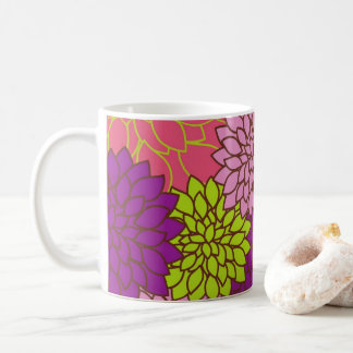 Bold Floral Design in Lime Green, Pink, Purple Coffee Mug