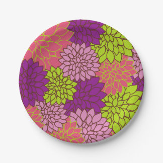 Bold Floral Design in Lime Green, Pink, Purple Paper Plate