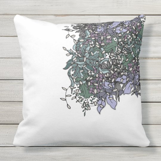 Bold Floral Design with Black Lines Pillow