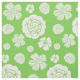 Bold Floral Pattern Lime Green White Fabric