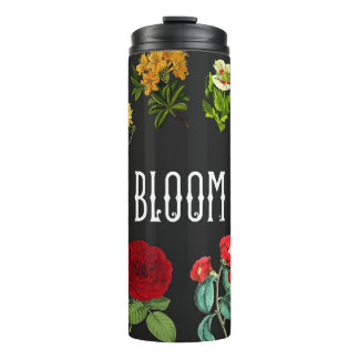Bold Floral pattern on Black Thermal Tumbler