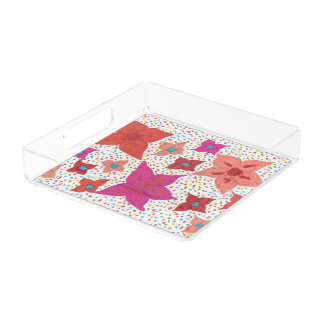 Bold Floral Print Acrylic Tray