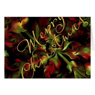 Bold Floral Red Green Gold Merry Christmas Card
