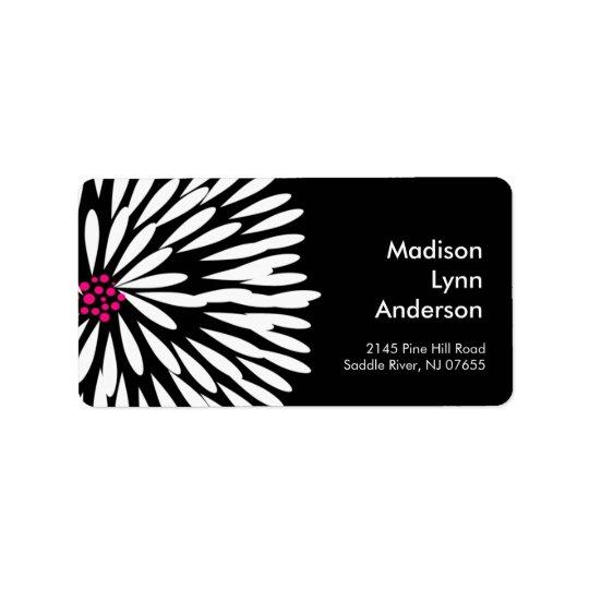 Bold Flower on Black Return Address Labels. Label