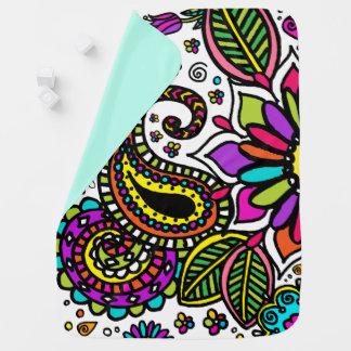 Bold Flower Paisley Love Baby Blanket