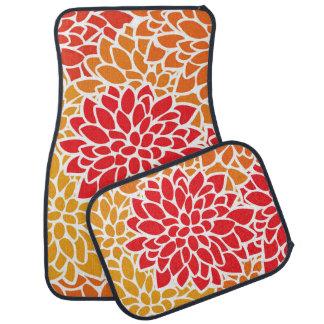 Bold Flower Red Orange Colorful Floor Mat