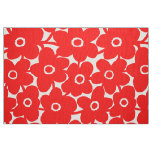 Bold Flowers - Red on White Fabric