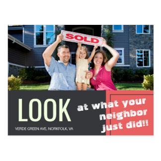 Bold Fun Just sold realty advert template Postcard