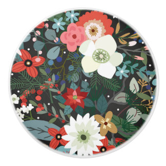 Bold Funky Colorful Floral Dark Chic Modern Flower Ceramic Knob