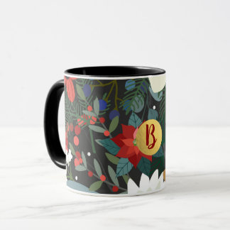 Bold Funky Colorful Floral Dark Chic Modern Mug