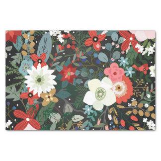 Bold Funky Colorful Floral Dark Modern Vintage Tissue Paper