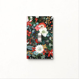 Bold Funky Floral Dark Chic Modern Vintage Glam Light Switch Cover