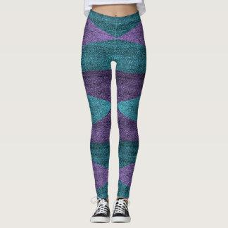 Bold Geometric Design Denim Blue & Purple Leggings