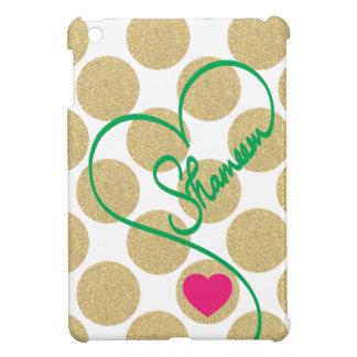 Bold Glitter Gold Dots Heart and Handwritten Name iPad Mini Case