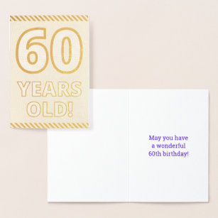 Bold Gold Foil 60 YEARS OLD Birthday Card