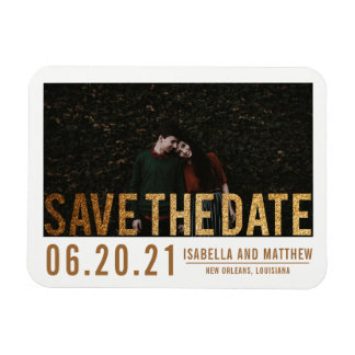 Bold Gold Glitter Save The Date | Custom Photo Magnet