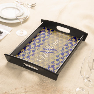 Bold Gold & Navy Blue Geometric, add Name / Year Serving Tray