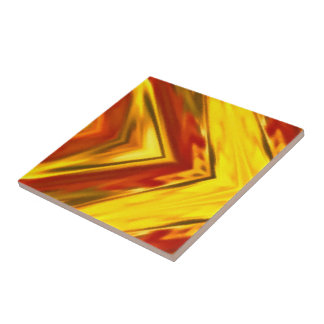 bold gold red abstract square mandala tile