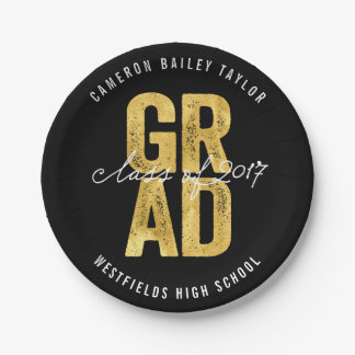 Bold Grad 2017 Gold Graduation Party Paper Plates 7 Inch Paper Plate