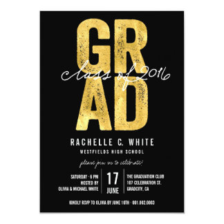 Bold GRAD Gold Foil Class of 2016 Party Invite