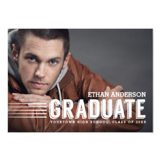 Bold Graduate   White Text Photo Graduation Party Cards