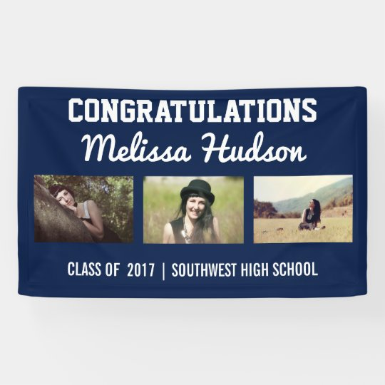 Bold Graduation Congratulations Three Photo Blue Banner