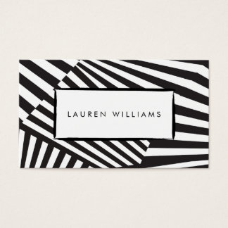 Bold Graphic Abstract Black and White Striped Art Business Card