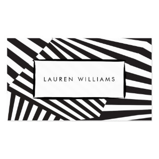 Bold Graphic Abstract Black and White Striped Art Pack Of Standard Business Cards