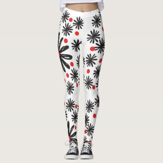 Bold Graphic Black and White Floral with Red Dot Leggings