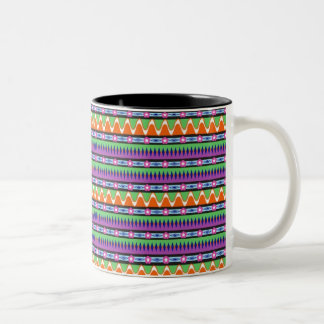 Bold graphic pattern with wavy lines and flowers Two-Tone coffee mug