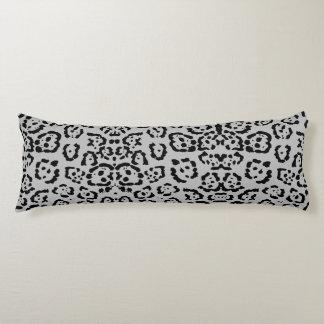 Bold Gray Leopard Animal Cat Print Silver Body Pillow