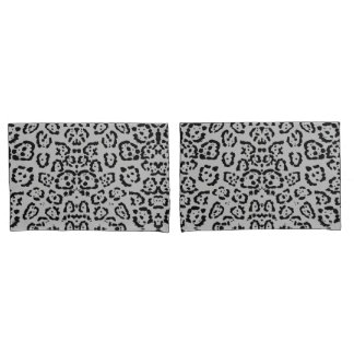 Bold Gray Leopard Animal Cat Print Silver Pillowcase