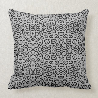 Bold Gray Leopard Animal Cat Print Silver Throw Pillow