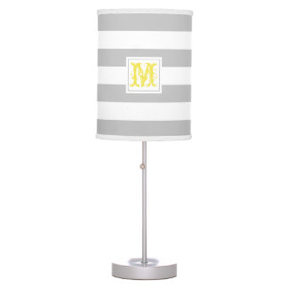 Bold Gray Stripe with Monogram Table Lamp