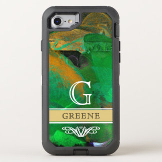 BOLD GREEN ABSTRACT ART PERSONALIZED OtterBox DEFENDER iPhone 8/7 CASE