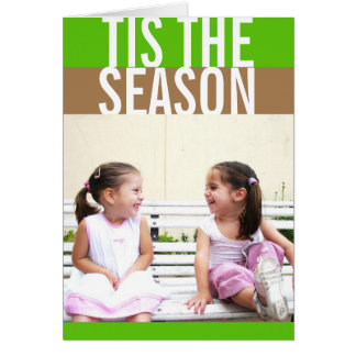 Bold green brown color stripe modern holiday photo card