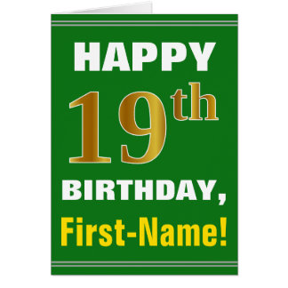 Bold, Green, Faux Gold 19th Birthday w/ Name Card