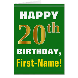 Bold, Green, Faux Gold 20th Birthday w/ Name Card
