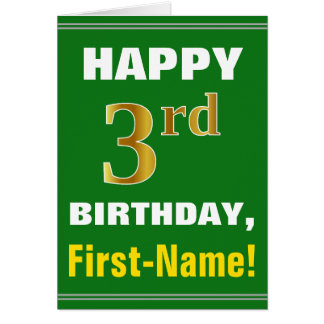 Bold, Green, Faux Gold 3rd Birthday w/ Name Card