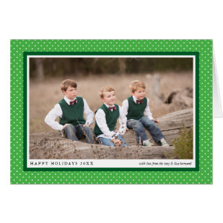 Bold Green Frame Preppy Folded Photo Holiday Card