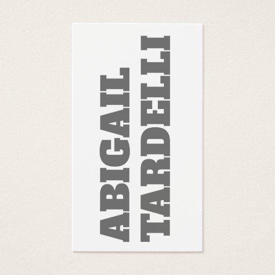 Bold Grey White Minimalist Modern Elegant Business Card