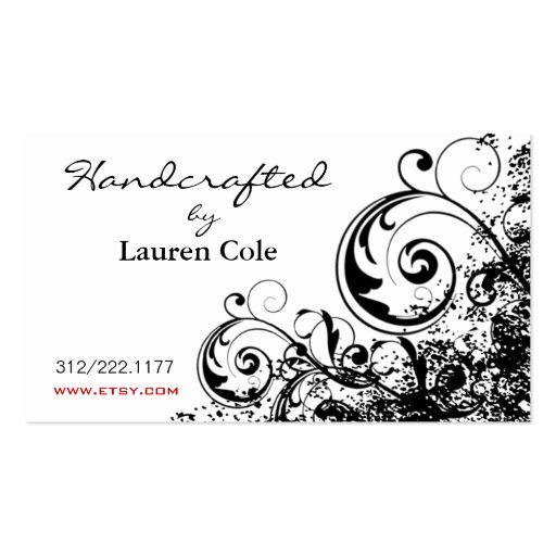 Bold Grunge Curls Handcrafted by custom crafts Business Card Template