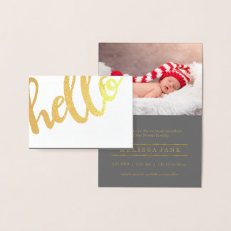 Bold Hello Birth Announcement Gold ID429