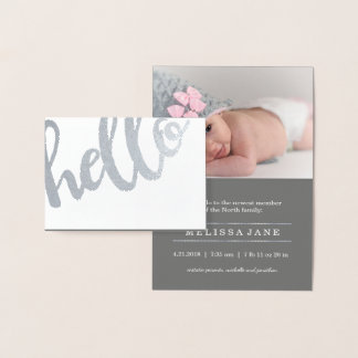 Bold Hello Birth Announcement Silver ID429