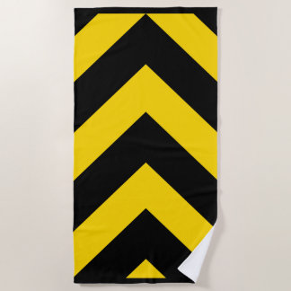 Bold Highway Traffic Bumble Bee Chevrons on a Beach Towel